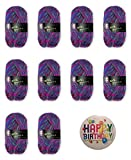 INDIAN SUMMER 81 PINK-LILAC: 10er-Set Wolke Hegenbarth: 10 x 50g, 60% Wolle 40% Polyacryl + je 1 Button HAPPY BIRTHDAY