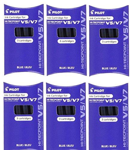 Pilot BXC-V5/V7cartucce di inchiostro di ricambio perpenne a inchiostro liquido ricaricabili Hi-Tecpoint V5& V7 (confezione da 6–18cartucce)