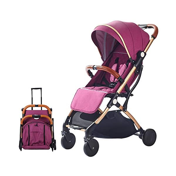 SONARIN Lightweight Stroller,Compact Travel Buggy,One Hand Foldable,Five-Point Harness,Great for Airplane(Purple) SONARIN Size:Suitable from birth up to 25kg, length:66CM, width:48cm, height:98cm.Folding up:60CM*48CM*26CM. Great for Airplane,can be placed in any car boot. Safe:With sturdy aluminum alloy, compact body and five-point seat harness,each stroller has been pressure tested to provide security for each baby. Quality and Design:The backrest of the stroller supports sitting, half lying, lying,all three angles,lengthened and widened sleeping basket. Four wheel independent shock absorbing and built-in bearings make it smoother and quieter. 1