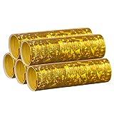 Gold Metallic Luftschlangen im 5er Sparpack - 5 Rollen mit je 18 holografisch-glitzernden Luftschlangen - für Karneval, Fasching, Geburtstag, Silvester, Dekoration - PARTYMARTY GMBH®