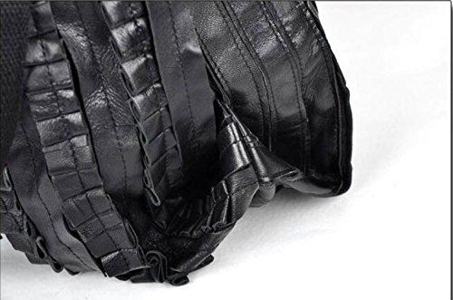 MYLL Sheepskin Stitching Faltige Schultertasche Retro Echtes Leder Diagonal-Paket Mode Shopping Dumplings Big Bag Black