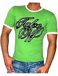 Rusty Neal Kurzarm Slim Fit Herren Rundhals Shirt Motiv T-Shirt Schwarz RN-2733, Größe:L, Farbe:Grün