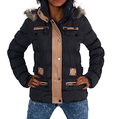 H460 Damen Winter Jacke Steppjacke Parka Jacket Daunen Look Winterjacke Schwarz