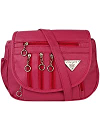 GulshanCollection Women Evening/Party, Casual PU Sling Bag With Stylish Fourth Zipper Flap (Pink)