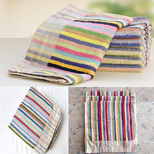 Zdys colorati asciugamani da cucina,10pezzi in cotone assorbente durevole craft stripe cucina towelscleaning tergicristallo domestici, come da immagine, 25x50cm