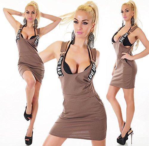 Damen Trägerkleid Minikleid Kleid Latzhosen Look Cappucchino
