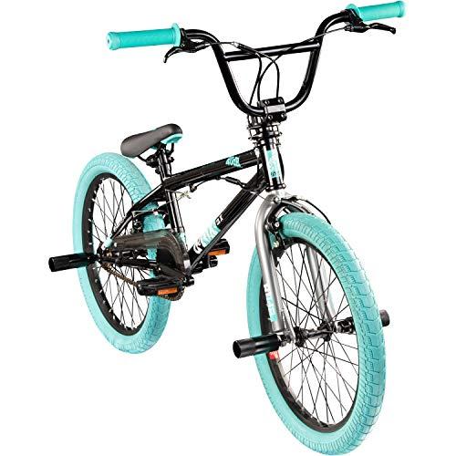 deTOX Rude 20 Zoll BMX Fahrrad Bike Freestyle Street Park Rad Modell 2019 Anfänger ab 140 cm 4 x Stahl Pegs 360° Rotor (schwarz/türkis)