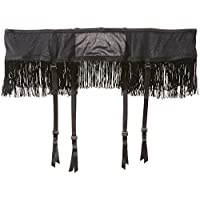 iCollection Women's Plus-Size Fringe Trimmed Mesh Garter-Skirt, Black, 3/4X