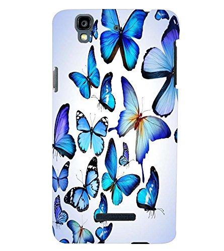 Printvisa Premium Back Cover Blue Butterfly Pattern Design for YU Yureka Plus::Micromax Yureka Plus YU5510A