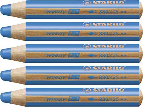 STABILO Woody 3 in 1 matitone colorato colore Blu Cobalto - Confezione da 5