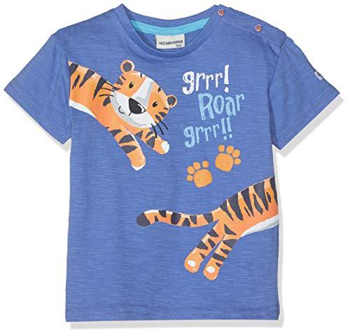 SALT AND PEPPER Baby-Jungen B Jungle Uni puffprint T-Shirt, Blau (Ink Blue 471), 74 -