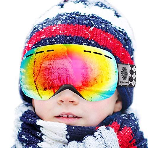 Snowledge Skibrille Kinder Ski Goggles Kids Rahmenlos Wechselobjektive Uvex Skibrille Verspiegelt Anti-Beschlag Helmkompatible OTG für Jugendliche von 8-15 Jahren (Schwarz Rot)