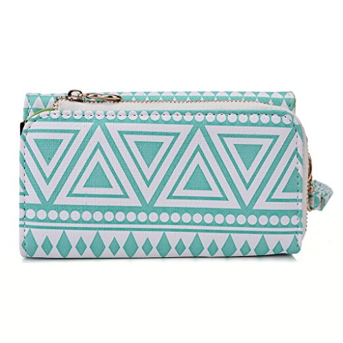 Kroo Tribal Urban Style Phone Case Walllet Clutch fits ACER Liquid E600 multicolore Black and White White with Mint Blue