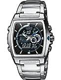 CASIO EFA-120D-1AVEF Edifice - Reloj de caballero de cuarzo, correa de acero inoxidable color negro (con cronómetro, alarma, luz)