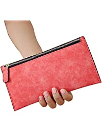 Ocamo Women Fashion Simple Wallet Soft Frosted PU Clutches Solid Color Coins Purse Handbag With Zipper Closure