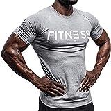 Fitness Method, Sport T-Shirt Herren, Slim-Fit Shirt bequem & hochwertig Männer, Rundhals & Tailliert, Training & Freizeit, Gym & Casual Workout Mann, 95% Baumwolle, 5% Elastan, (Grau-Weiß, M)