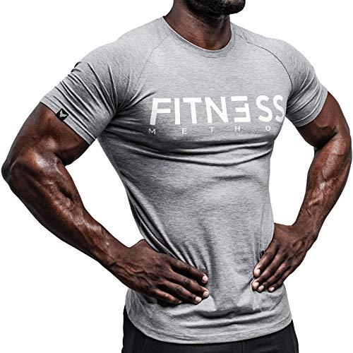 Hochwertiges T-shirt (Fitness Method, Sport T-Shirt Herren, Slim-Fit Shirt bequem & hochwertig Männer, Rundhals & Tailliert, Training & Freizeit, Gym & Casual Workout Mann, 95% Baumwolle, 5% Elastan, (Grau-Weiß, L))