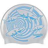 Speedo Junior Slogan Swimming Cap, Kids Free Size (Silver/Blue)