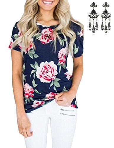 MODETREND Damen Shirt mit Blüte Drucken Kurzarm Sommer Oberteile Tops T-shirt Blau