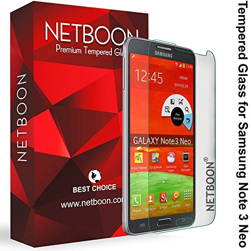 NETBOON® Branded Samsung Galaxy Note 3 Neo Tempered Glass Screen Protector – Anti Explosion, Premium Crystal Clear Screen Guard, Shatterproof, Anti-Scratch Original Screen Protector, Bubble-free, 2.5D Round Edge – 9H Hardness Protect Mobile Screen from Scratches, Dirt, Dust, Bumps or any unwanted wear and tear
