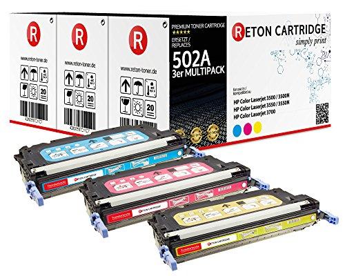 Original Reton Toner, kompatibel, 3er Farbset für HP 3600dn (Q6471A, Q6472A, Q6473A), HP 502A, COLOR LASERJET 3600N, 3600DN, 3800N, 3800DN, 3800DTN, CP3505, CP3505N, CP3505DN, CP3505X (Q6471a Hp Kompatibel Toner)