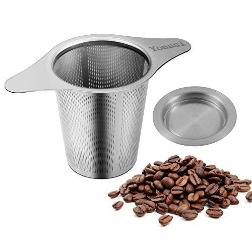 Yoassi [ neue Version ] Kaffeefilter Wiederverwendbar aus Edelstahl Handfilter Teesieb fur Tasse mit Doppel-Griff und Abtropfschale/Deckel für Kanne/Teekanne/Kaffeekanne/Töpfe (Kaffee-tasse Ohne Griff)