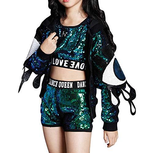 Performance Sets - Mädchen Kinder Erwachsene Hip Hop Modern Kostüme Pailletten Anzüge Sets Weste + Shorts Jacken Tanzbekleidung ()
