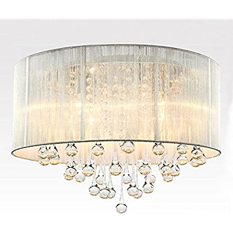 YM@YG Living lampade da soffitto Hall Hall plafoniere modo semplice moderna Tessuto spazzolato lampada da soffitto di cristallo (45 * 32cm)