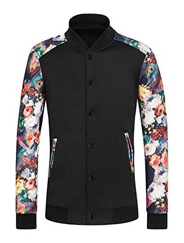 sourcingmap Hommes Bouton-pression Slim Fit Veste Floral Noir