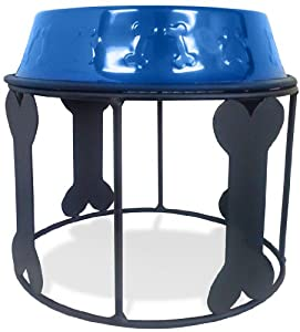 Platinum Pets 64oz Single Diner Stand with Stainless Steel Dog Bowls in Sapphire Bowls