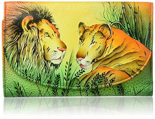 Anna by Anuschka Hand Painted Leather Women's Three FOLD Checkbook Wallet, handgemalt, Leder, Damen, dreifaltig, Scheckbuch, Portemonnaie, Lion in Love, Einheitsgröße