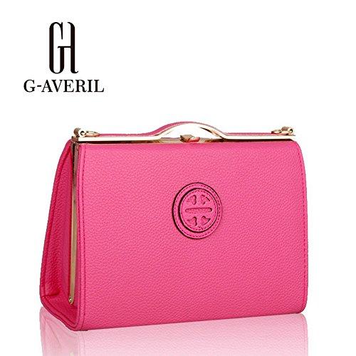 (G-AVERIL) Moda spalla sacchetto impermeabile borsetta di pelle sintetica rosa rossa