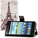kwmobile Funda chic de cuero sintético para el Samsung Galaxy S2 S2 PLUS con una práctica función de soporte - ¡Diseño Torre Eiffel en negro blanco!