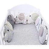 HB.YE 100% Cotton Fait à la Main Tour de lit coussin pare-chocs Protection bébé sécurité Motif Eléphant Imprimé Géométrie Doux et Souple (6Pcs)