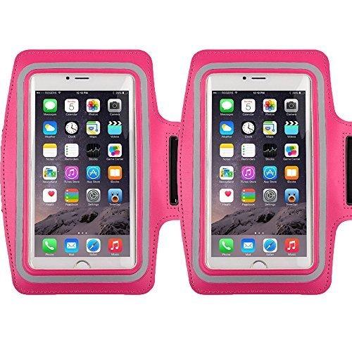 Universal Sportarmband für 14,5cm Bildschirm Apple iPhone 6/6S iPhone 6/6S Plus Samsung Galaxy S7/S6/S5/S4Schweiß-Running Armbelt mit kleinen Halter & Tasche für Schlüssel Karte, armband pink 2pack