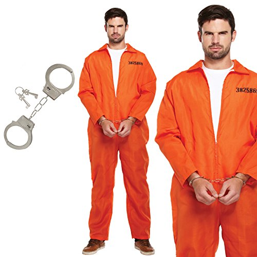 Unbekannt Gefangener Convict Orange Jumpsuit Fancy Dress Kostüm -