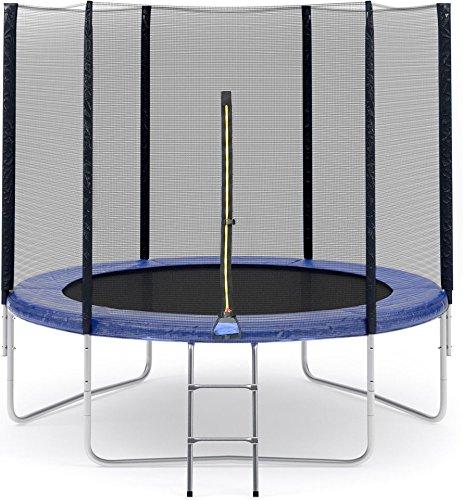 Trampolinzubehör Set für Trampolin 305cm-6Stangen beinhaltet: 180cm Höhe Ersatznetz Sicherheitsnetz Trampolinnetz + blau PVC - UV beständige Federabdeckung Randabdeckung