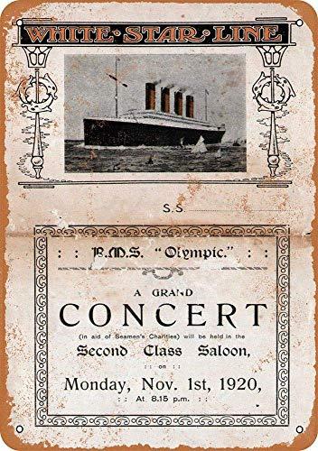 HiSign White Star Line Concert Vintage Blechschild Antike Metall gemälde Retro Wandschild Teller Poster Kaffee-Dekoration für Zuhause Club Bar Café Hotel Hotel Line
