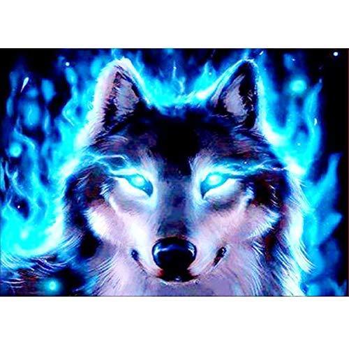 lerei, Rundbohrer-Kits für Erwachsene, geklebte Stickerei, Kreuzstichkunst, Handwerk für Zuhause, Wanddekoration, blauäugiger Wolf, 30,5 x 40,6 cm ()