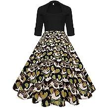 106f3b1515bd16 iShine Spleiß Kleid Damen Knielang 1/2 Arm Rockabilly Kleid mit Revers Swing  Faltenrock Partykleid