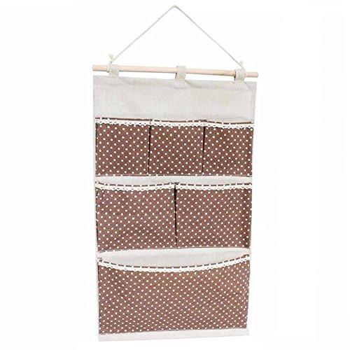 Hängende Aufbewahrungsbeutel Baumwollgewebe Wandtasche Badezimmer Home Decorating Makeup Organizer 6 Tasche Kaffee