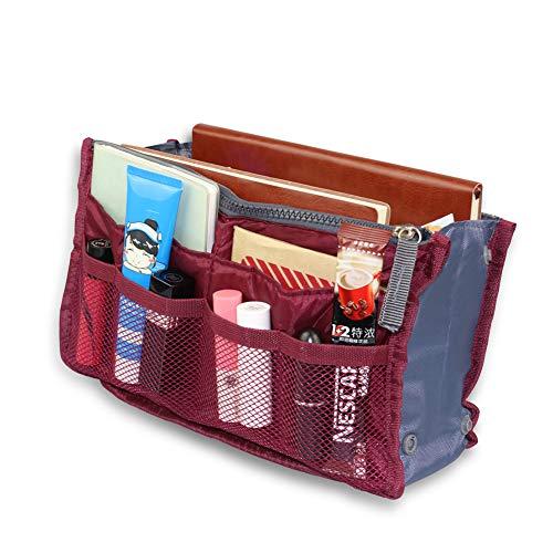 Multi-funzione di ispessimento della borsa dell'organizzatore di grande capacità portatile liner tidy cosmetico di inserto 12 tasche claret