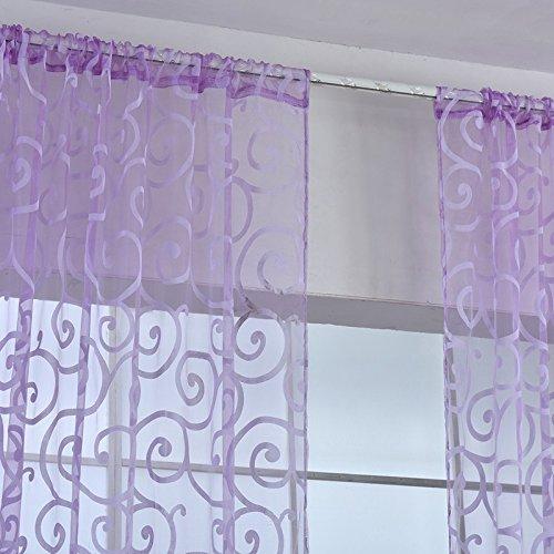 Qhgstore fresh tulle floreale porta sciarpa del voile mantovane copre le tende di finestra pura, include unica finestra di screening, che non includono le tende viola
