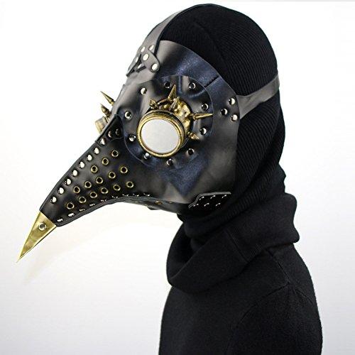 Yhongyang Pest Doktor Maske Vögel Lange Nase Schnabel Faux Leder Steampunk Halloween Kostüm ()