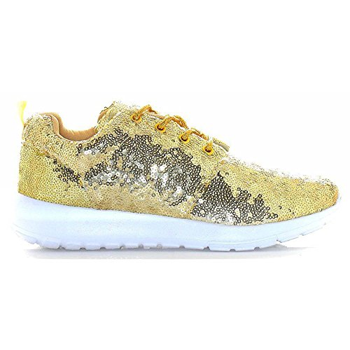 Womens Ladies Lace Up Glitter Sparkly Trainers Sneakers Gym Pumps Fitness  Size 3 To 8 (5 UK 3da9026bed