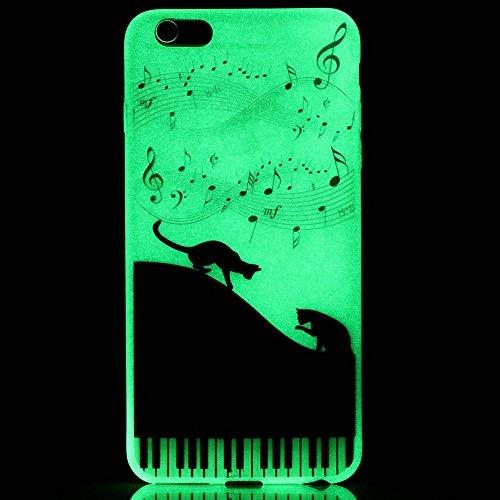 ISAKEN Custodia iPhone 6 Plus - Cover iPhone 6S Plus - Fashion Agganciabile Luminosa Cover Case con LED Lampeggiante per Apple iPhone 6(5.5) Ultra Slim Sottile TPU Cover Rigida Gel Silicone Protettiv gatto nero pianoforte music