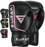 EMRAH Guantes de Boxeo Kick Boxing Muay Thai Saco Entrenamiento Adulto Sparring Cuero Maya Hide Boxing Gloves (10 OZ, Negro / rosa)