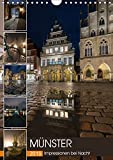Münster - Impressionen bei Nacht (Wandkalender 2019 DIN A4 hoch): Nachts unterwegs im wunderschönen verträumten Müns