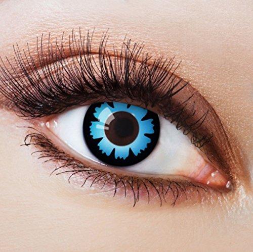Farbige Kontaktlinsen Blau Ohne Stärke Blaue Crazy Weiche Motiv-Linsen Farbig Halloween Karneval Fasching Cosplay Kostüm Blue Vampir Zombie Lunatic