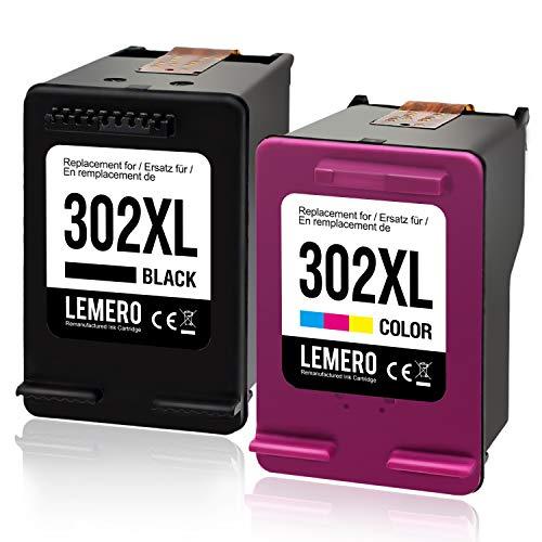 LEMERO 302XL Wiederaufbereitet Druckerpatronen Ersatz für HP 302 XL für HP Officejet 3833 3834 3830 3832 4650 4654 Deskjet 3630 2130 1110 Envy 4522 4524 4525 4520 Drucker,Schwarz Farbe